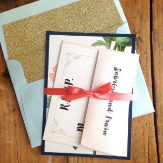 Pastel Peony Wedding Invitations by Beacon Lane