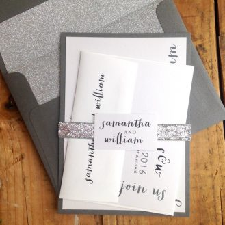 Silver & Glitter Wedding Invitations by Beacon Lane
