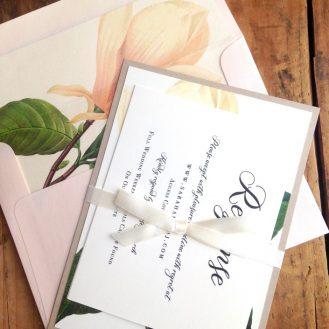 Sweet Magnolia Custom Wedding Invitations by Beacon Lane