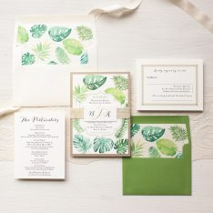 Tropical Green Wedding Invitations | Beacon Lane