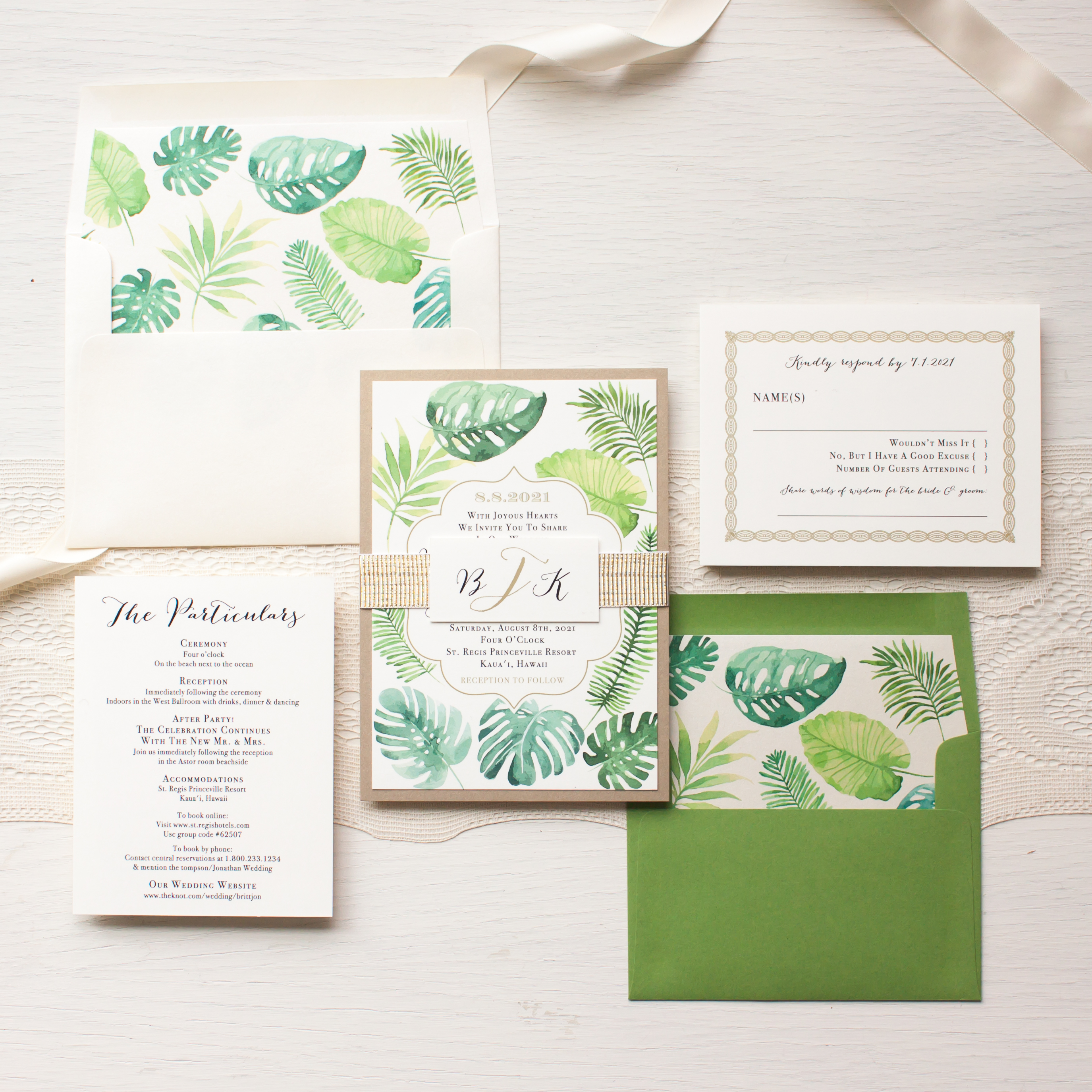 Tropical Green Destination Wedding Invitations | Beacon Lane