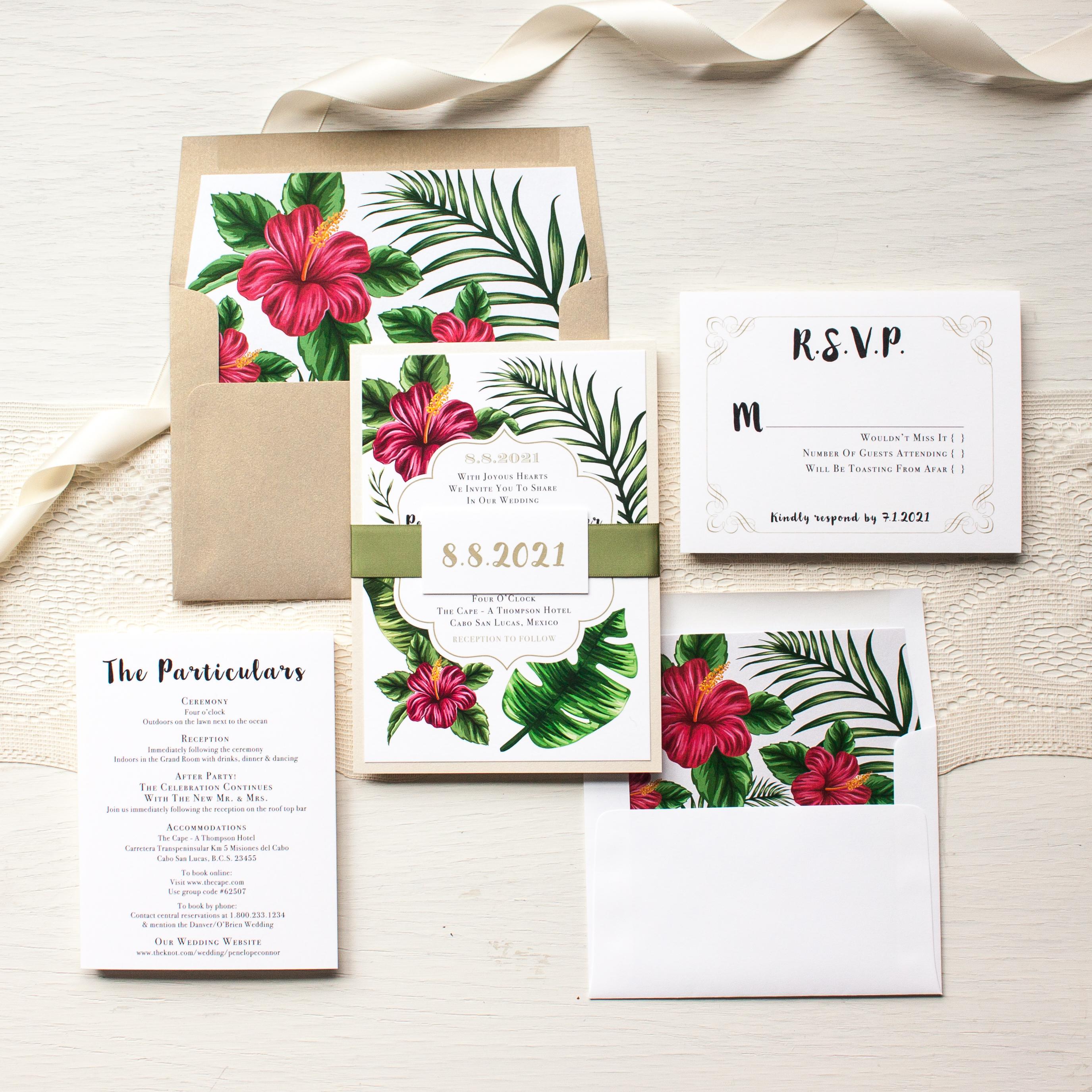 Tropical love beach wedding invitations beacon lane for Tropical wedding invitations