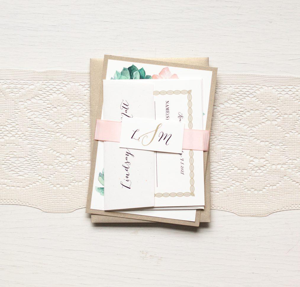 Blush Succulent Wedding Invitations
