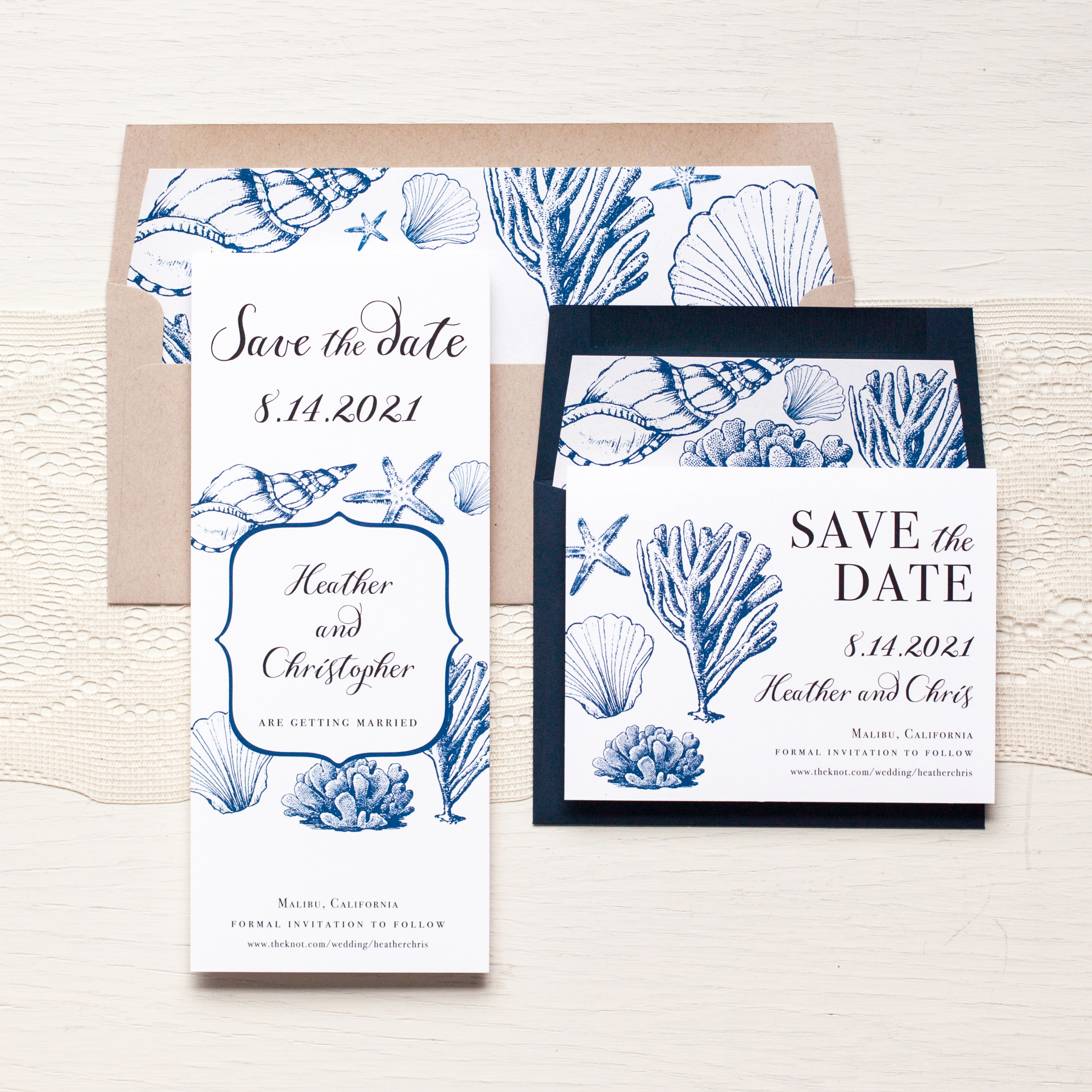 Beach Blues Save the Dates by Beacon Lane