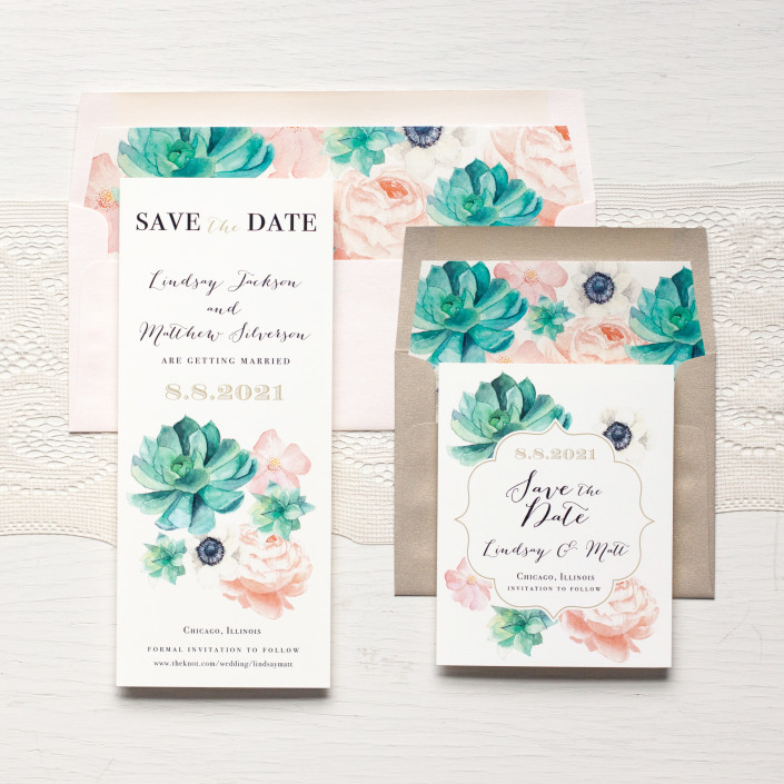 Blush Succulent Save the Dates by Beacon Lane