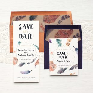 Feather Boho Save the Dates