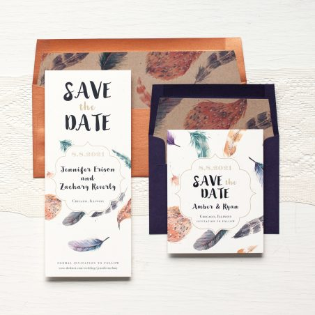Feather Boho Save the Dates by Beacon Lane
