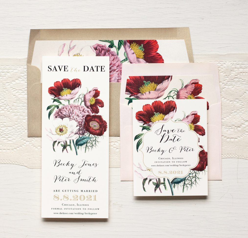 Floral Boho Save the Dates by Beacon Lane