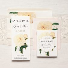 Ivory and Gold Peony Save the Dates by Beacon Lane