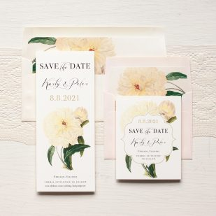 Ivory & Gold Peony Save the Dates