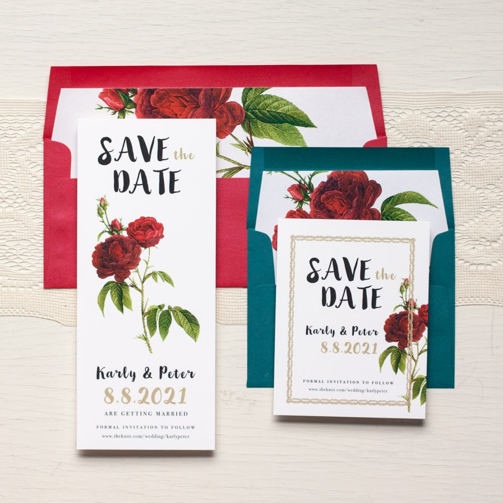 Jewel Tone Rose Save the Dates by Beacon Lane