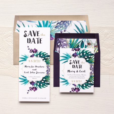 Jewel Tone Tropics Save the Dates by Beacon Lane
