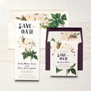 Navy Garden Rose Save the Dates