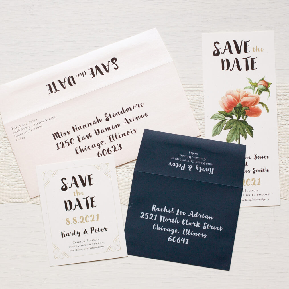 Peony Save The Date Envelope Liner
