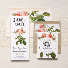 Rose Gold Glam Save the Dates by Beacon Lane