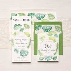 Tropical Green Save the Dates by Beacon Lane