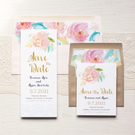 Watercolor Pastel Save the Dates by Beacon Lane