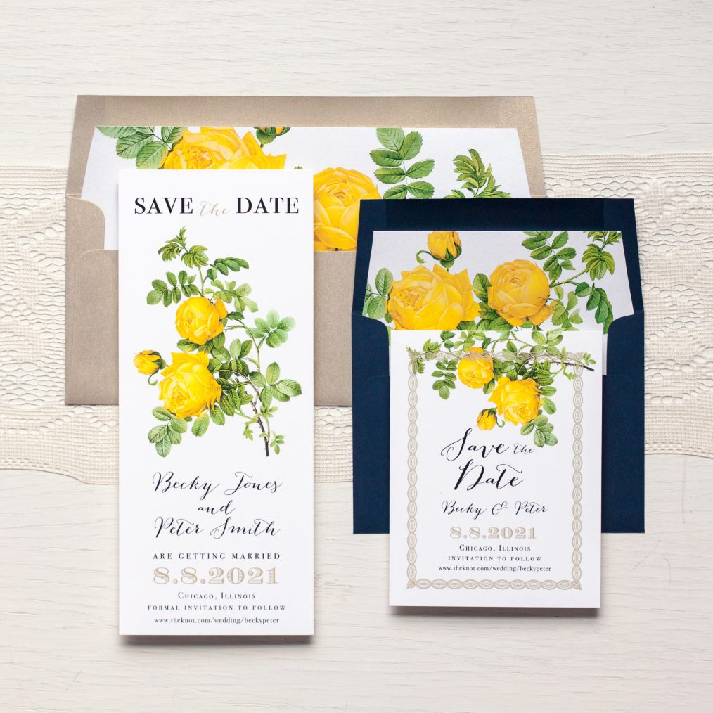Yellow Garden Rose Save the Dates by Beacon Lane