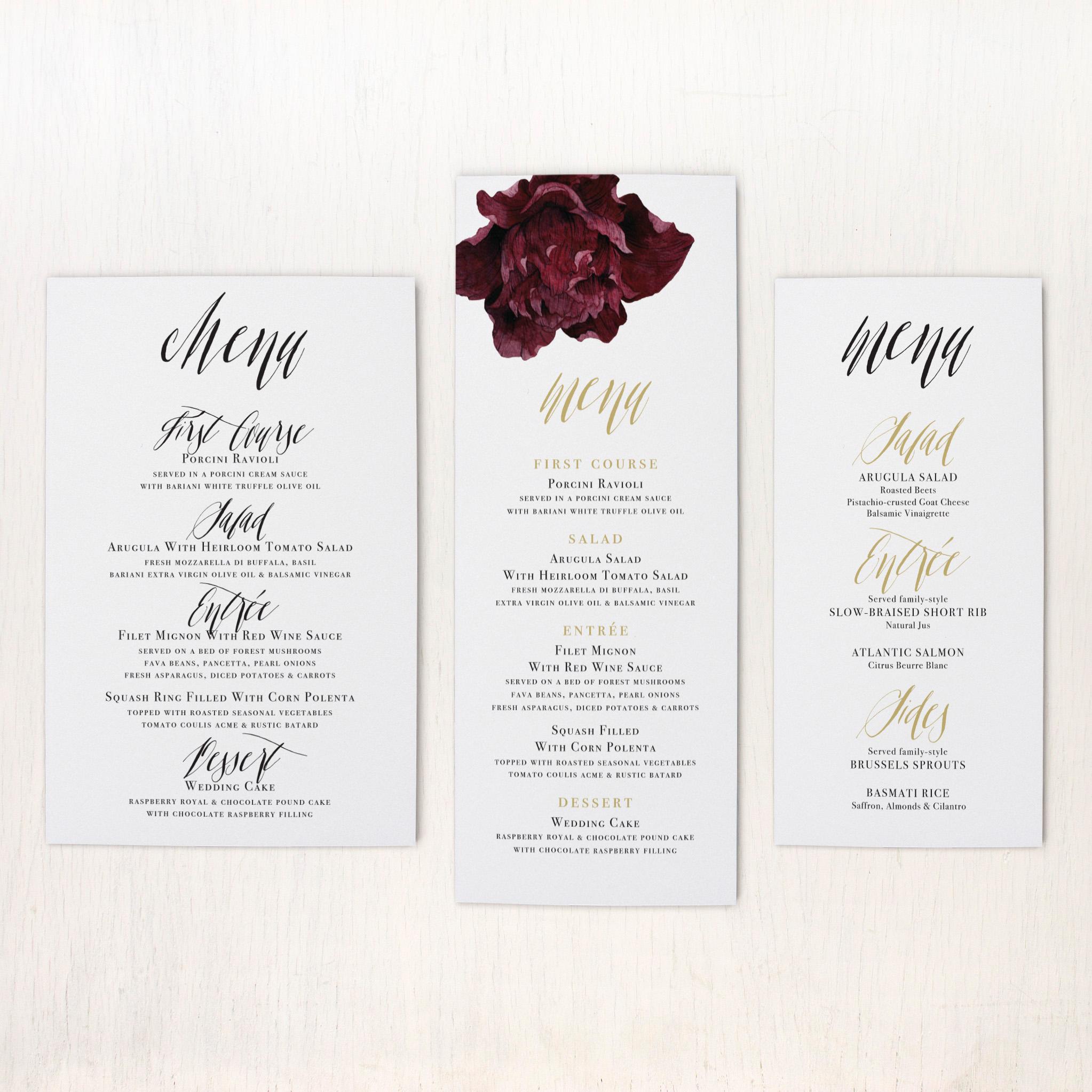 modern boho customizable flat simple wedding menus   beacon lane