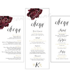 Modern Calligraphy Wedding Menu Cards