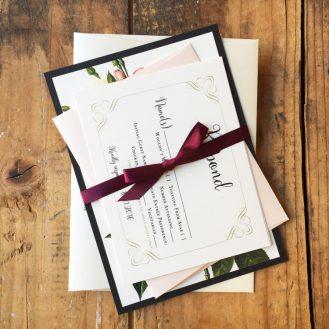 Navy Garden Rose Wedding Invitation by Beacon Lane