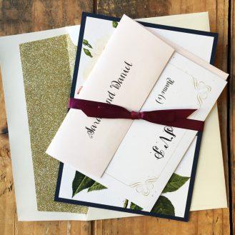 Navy Garden Rose Wedding Invitations by Beacon Lane