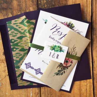 Succulent Script Wedding Invitation by Beacon Lane