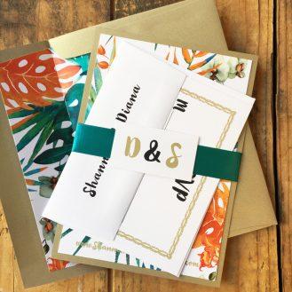 Jewel Tone Tropic Wedding Invitation by Beacon Lane