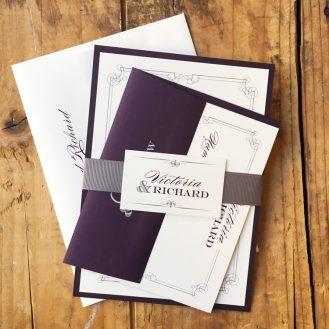 Elegant Navy Script Wedding Invitation by Beacon Lane
