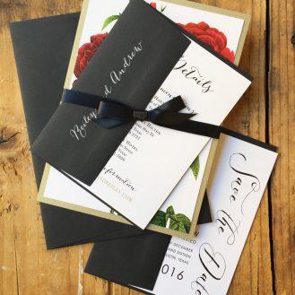 Rose Gold Glam Wedding Invitation by Beacon Lane