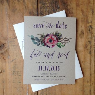 Succulent Script Save The Date by Beacon Lane