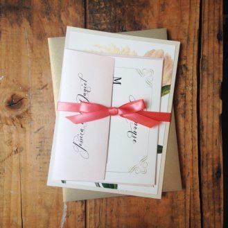 Ivory & Gold Peony Wedding Invitations by Beacon Lane