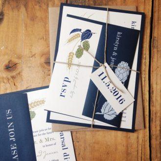 Hops Love Wedding Invitations by Beacon Lane
