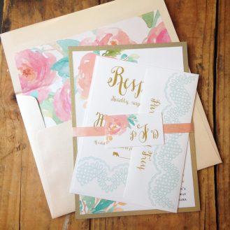 Watercolor Pastel Wedding Invitation by Beacon Lane