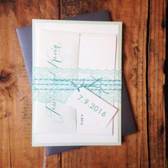 Mint Script Wedding Invitations by Beacon Lane