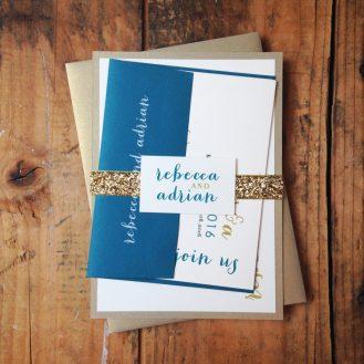 Silver + Glitter Wedding Invitation by Beacon Lane