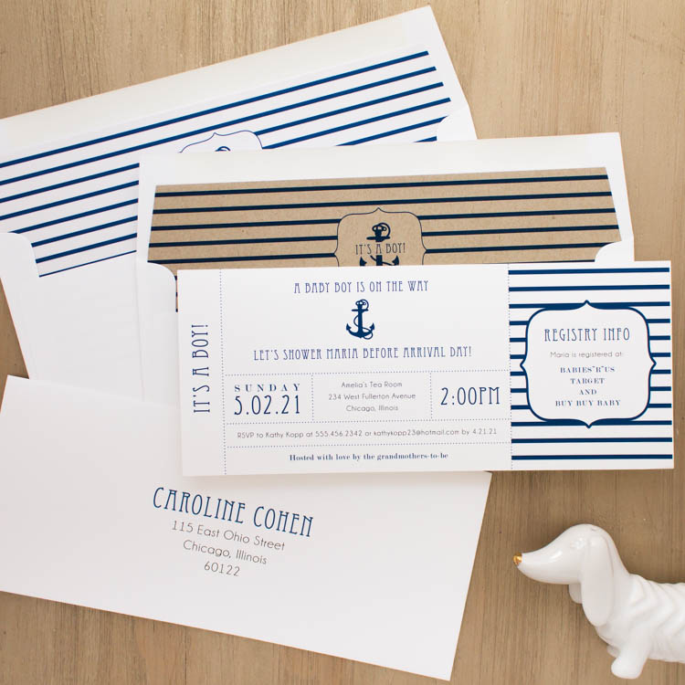 Ahoy It's A Boy Baby Shower Invites