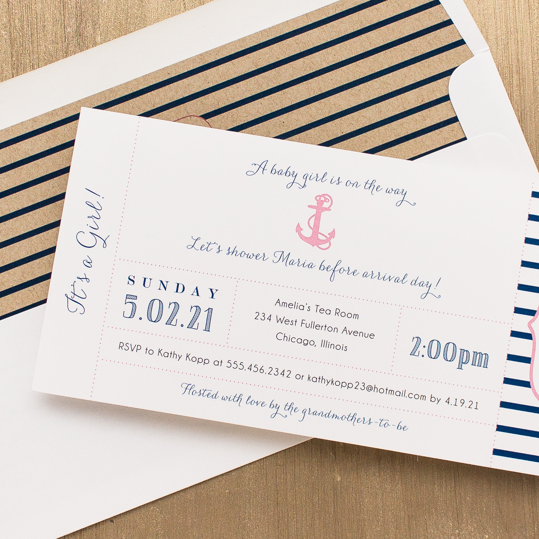 Ahoy It's A Girl Baby Shower Invitations