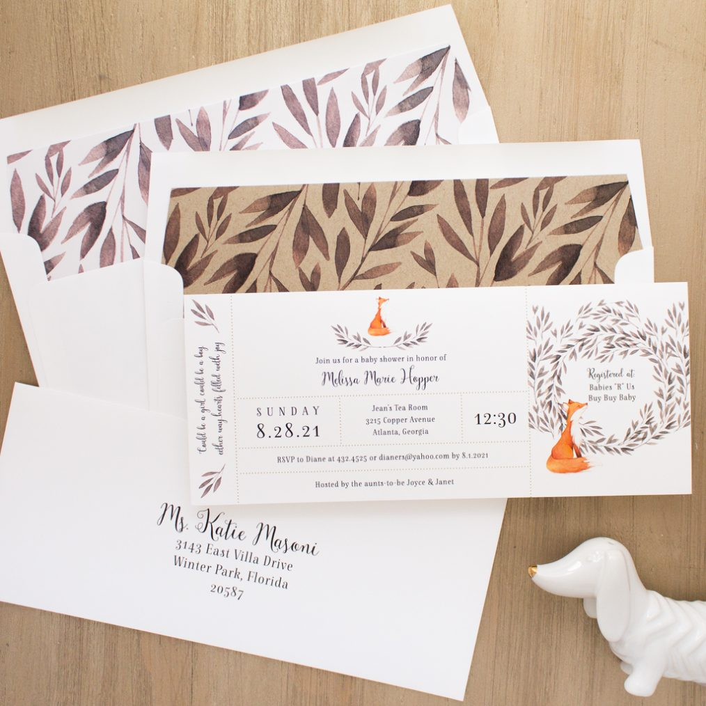 Freddie Fox Baby Shower Invites