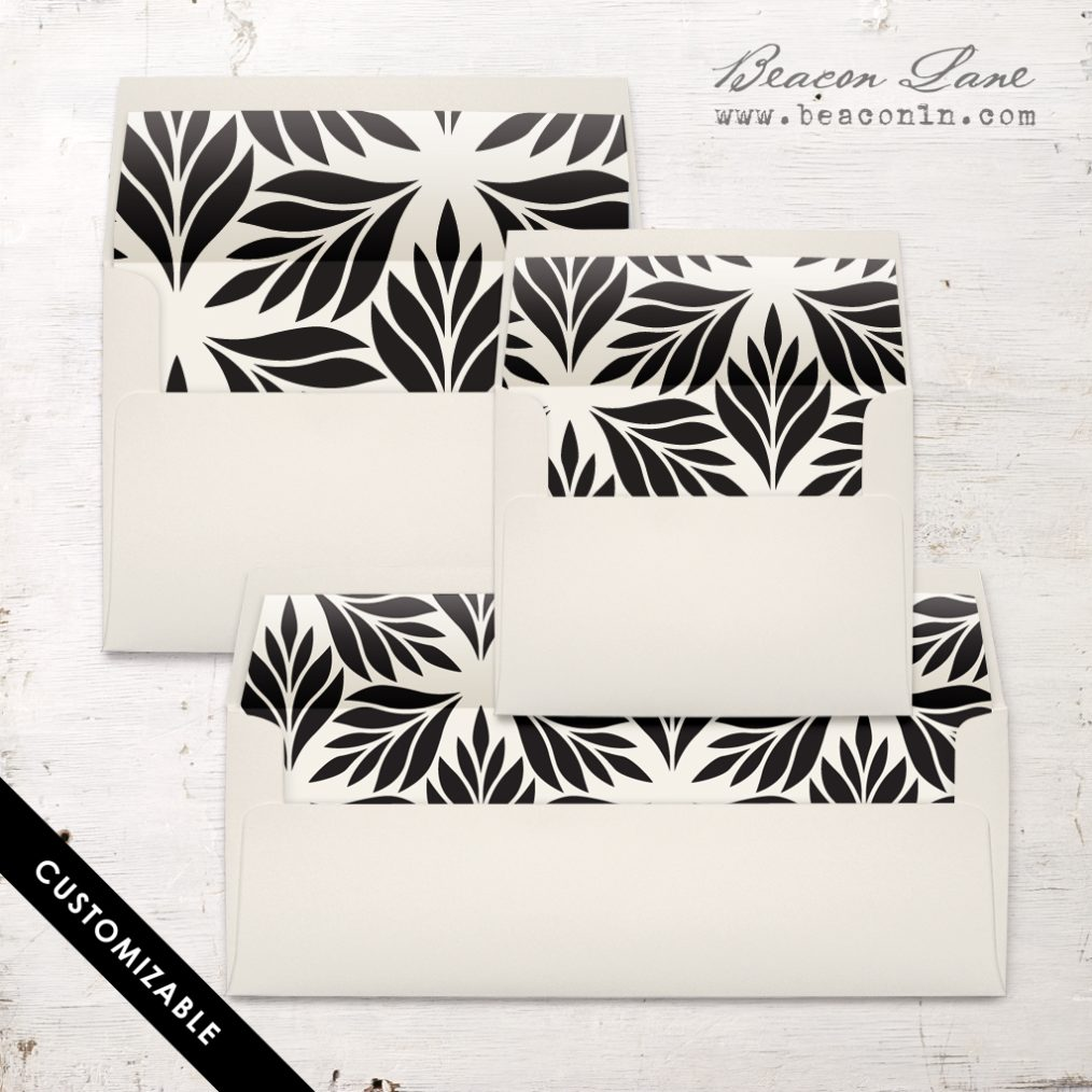 Black Geometric Leaves Envelope Liner