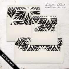 Black Geometric Leaves Envelope Liner