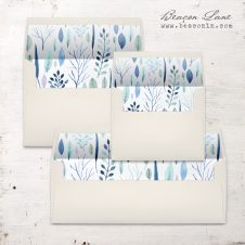 Blue Leaves Envelope Liners