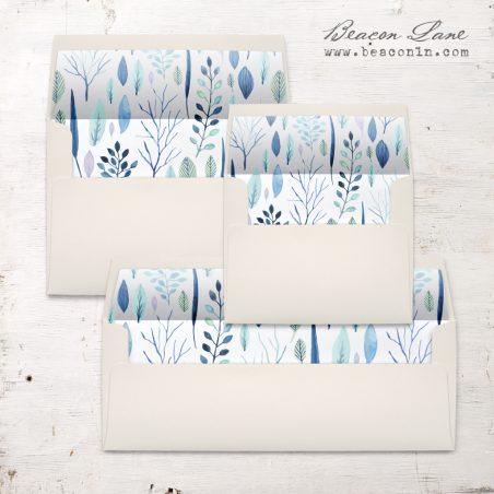 Blue Leaves Envelope Liners