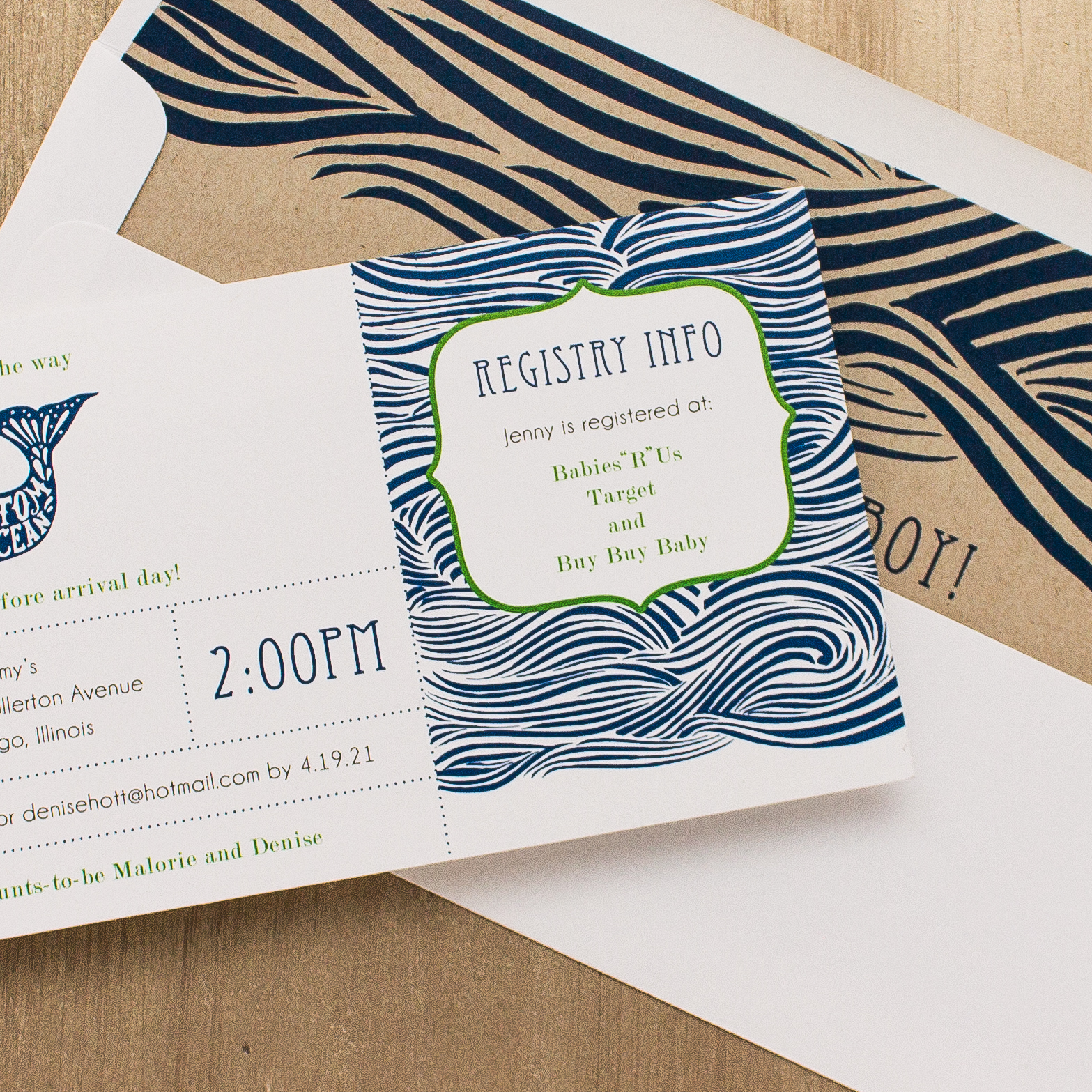 Blue Whale Baby Shower Invites With Envelope Liners | Beacon Lane