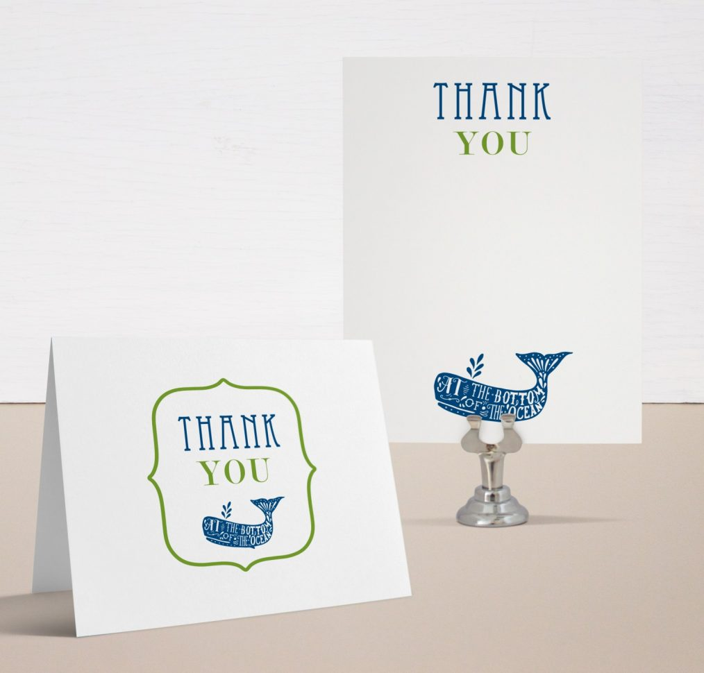 Blue Whale Baby Shower Thank You Cards