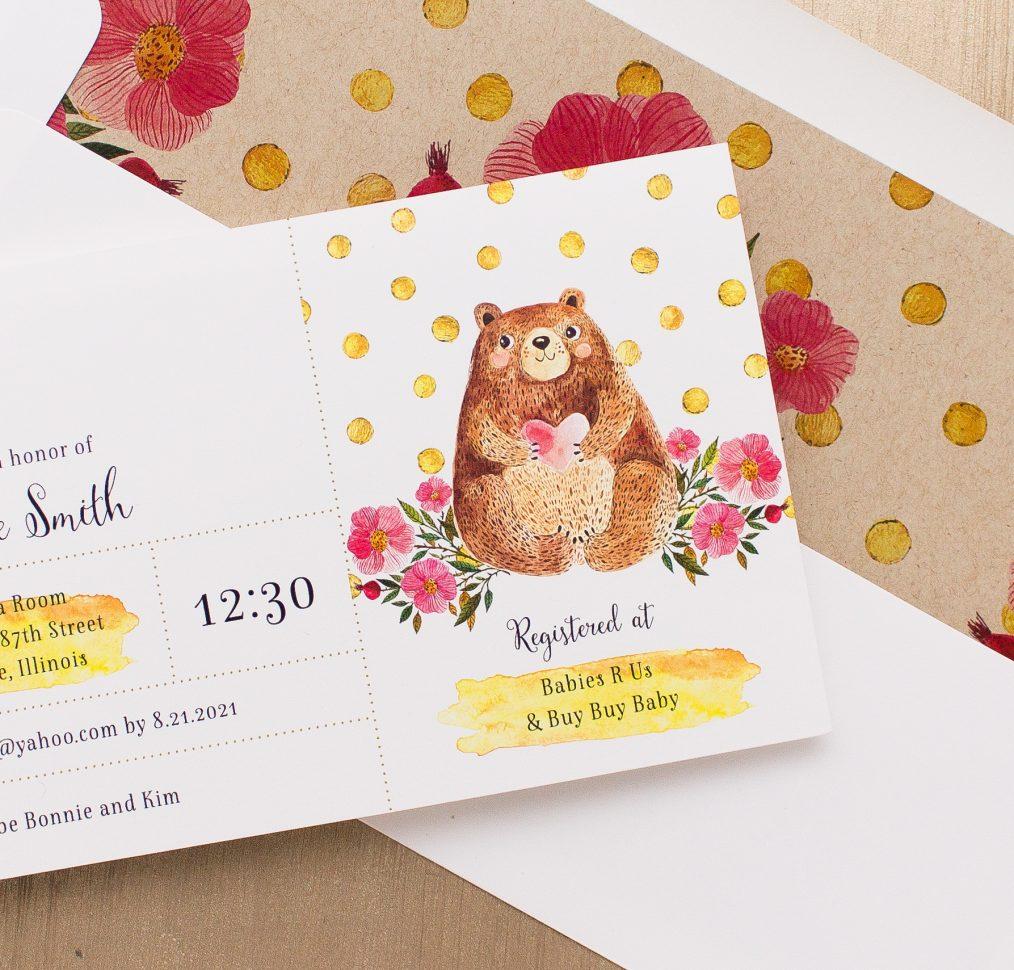 Bobby Bear Baby Shower Invitations