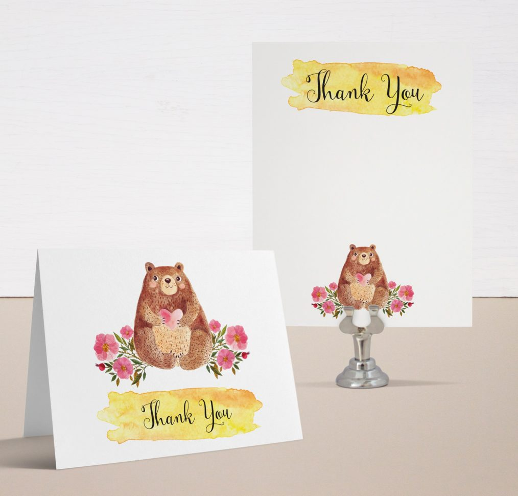 Bobby Bear Baby Shower Thank You Cards
