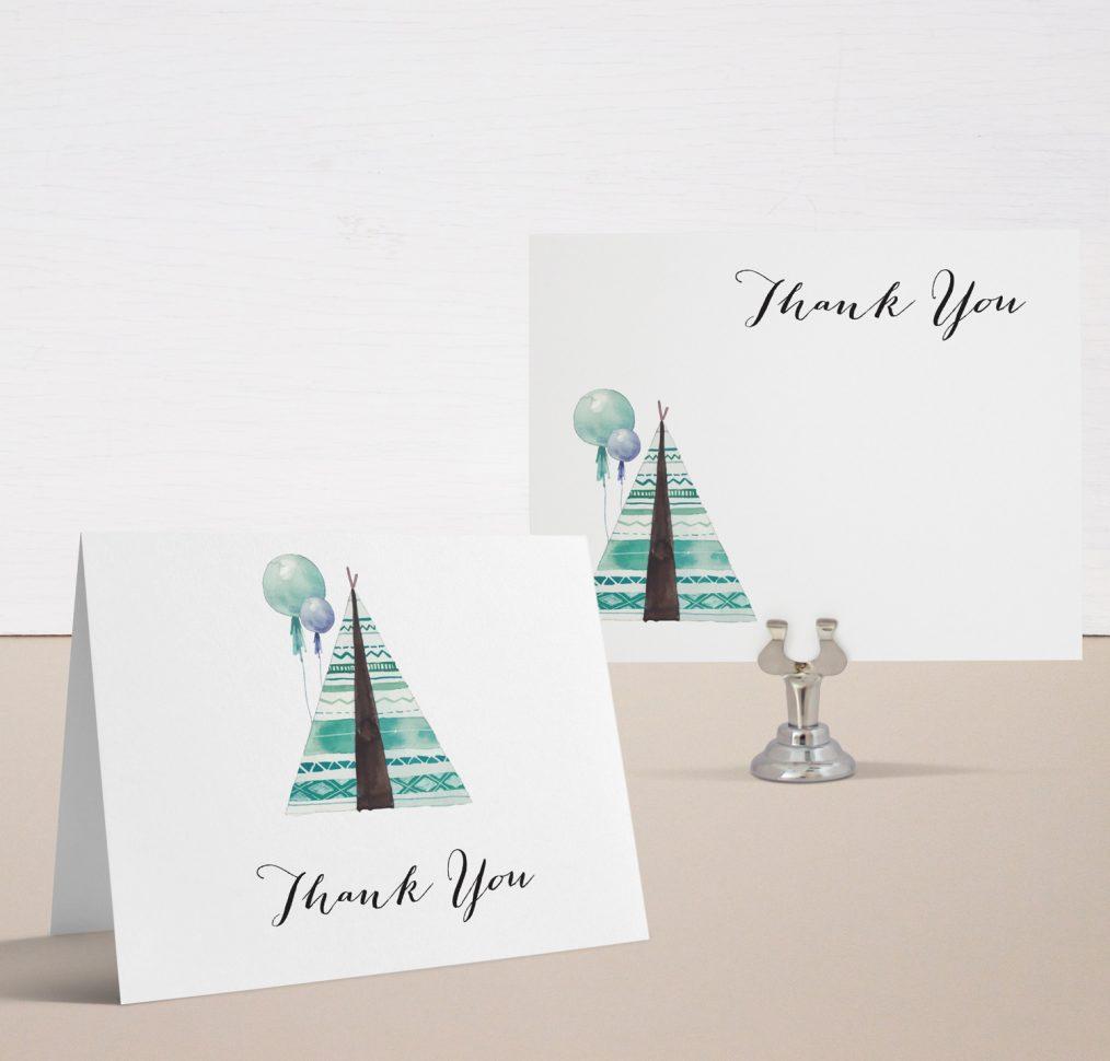 Boho Boy Baby Shower Thank You Cards