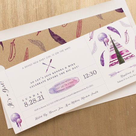 Boho Girl Baby Shower Invitations