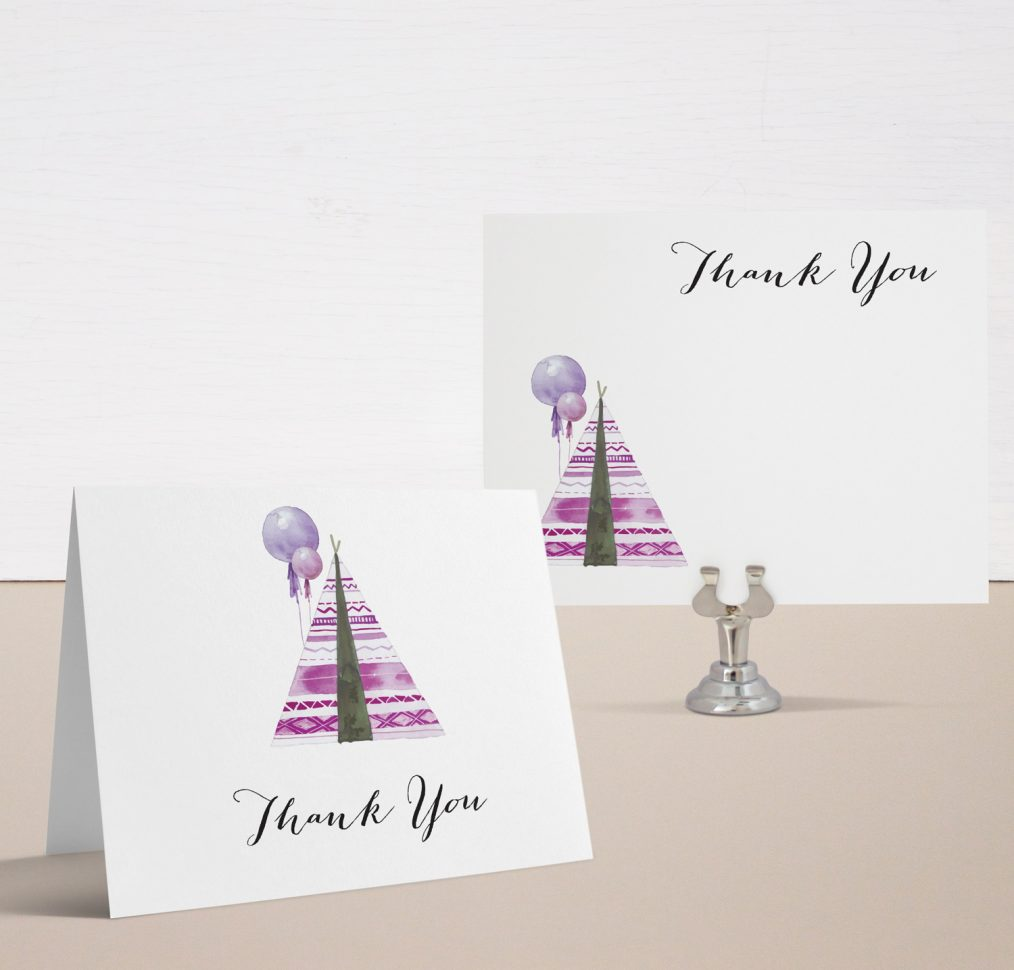 Boho Girl Baby Shower Thank You Cards
